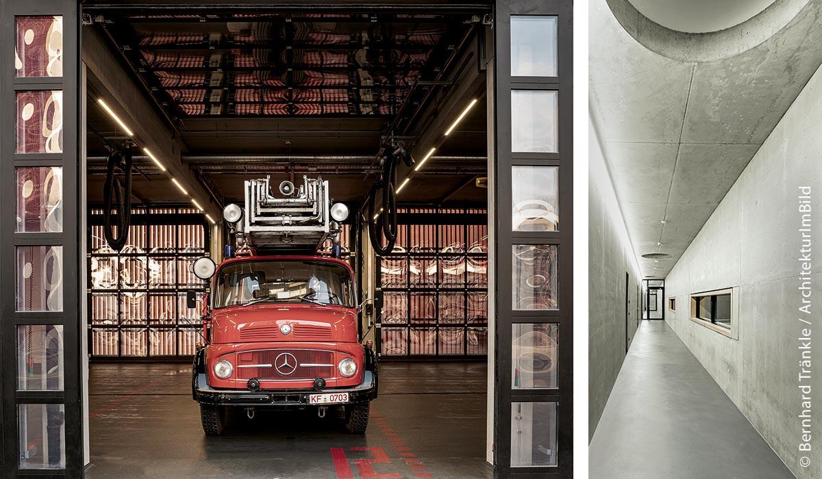 Der Neubau des Feuerwehrhauses in Kaufbeuren besticht durch Minimalistik und klare Formen: Fahrzeughalle mit Feuerwehrauto (links) und Flurgang (rechts).