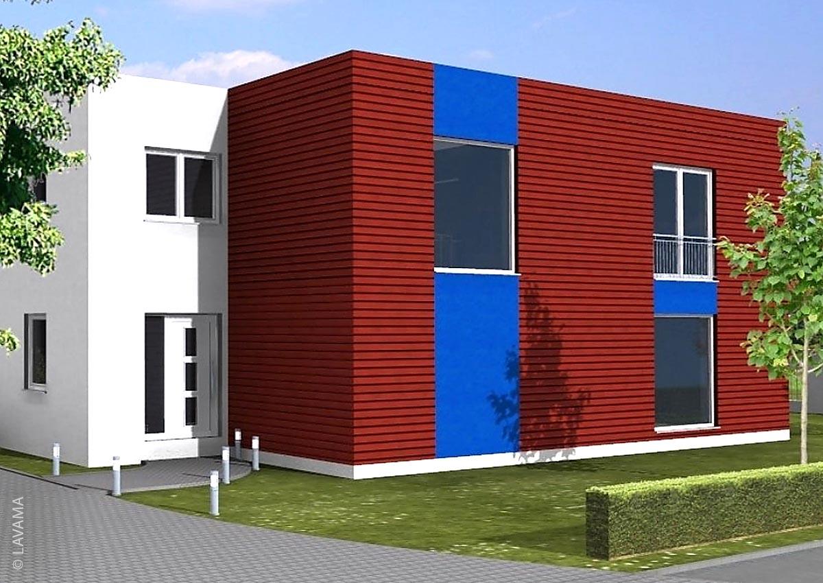 Bürogebäude: Die Gebäude haben eine innere tragende Struktur aus Vollholzbalken, die durch eine umfangreiche Verschalung und ausreichende Dämmung nach DIN Norm ergänzt wird.