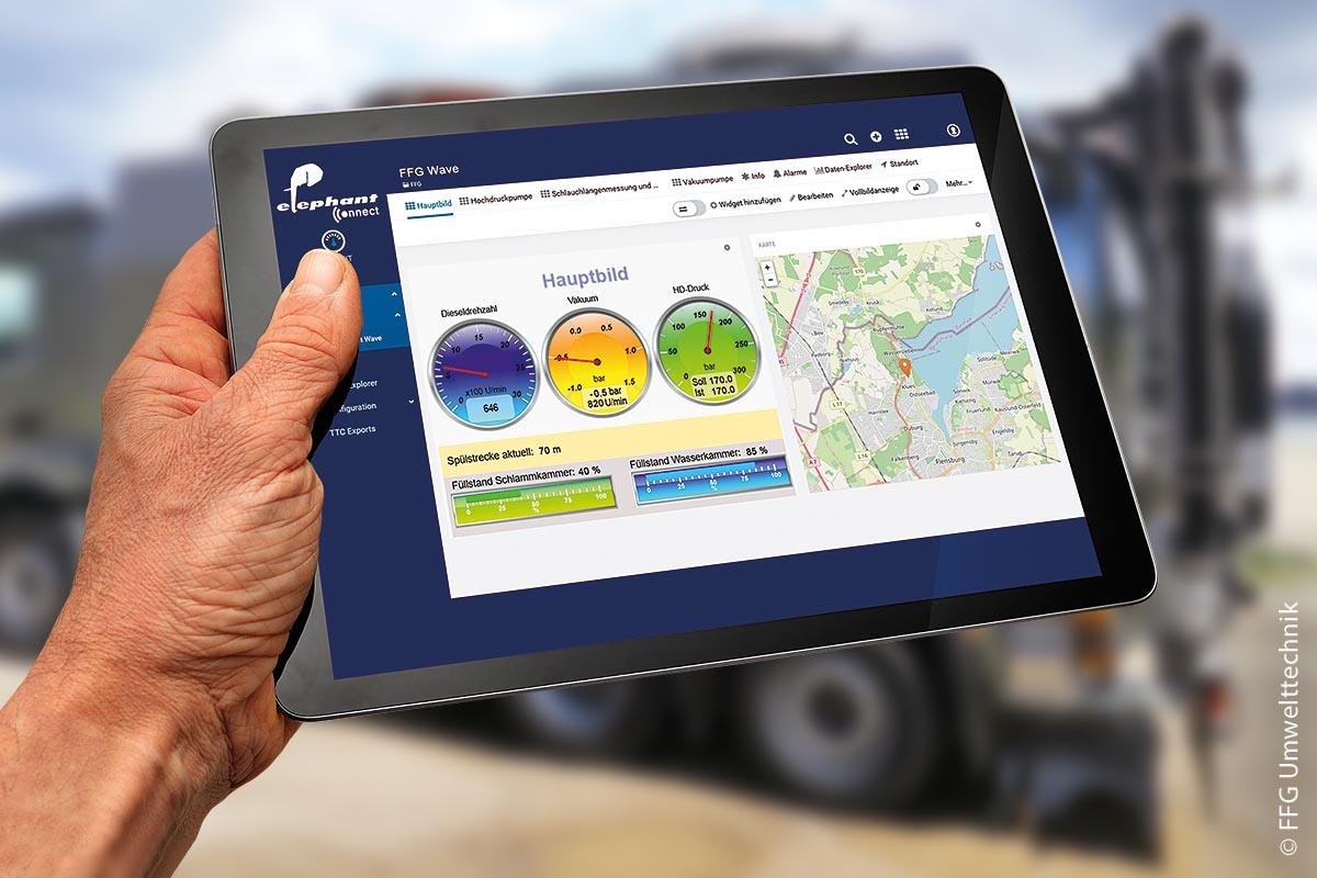 """""""elephant connect"""" ist eine Cloud-Anwendung, die mittels einer mobilen Datenübertragung eine intelligente Verknüpfung und Verarbeitung von Fahrzeuginformationen sowie anwenderbezogenen Leistungsparametern schafft."""