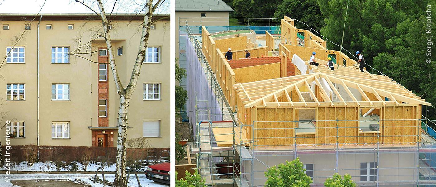Gebäude in der Berliner Wohnsiedlung im Stadtteil Lichterfelde vor der Sanierung (links) und bei der Aufstockung (rechts)