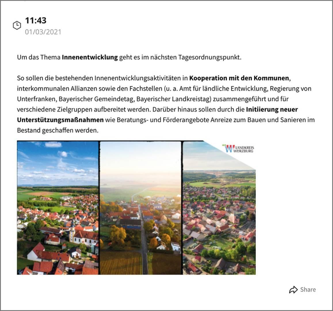Mit dem Kommunen-Live-Blog berichtet das Landratsamt Würzburg regelmäßig über Kreistagssitzungen in der Region.