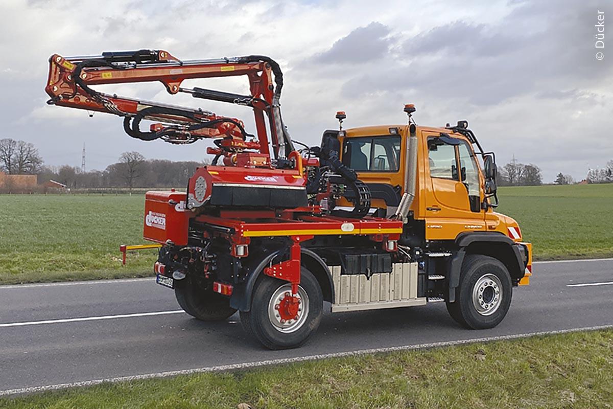Transportstellung des Aufbauauslegers DAM